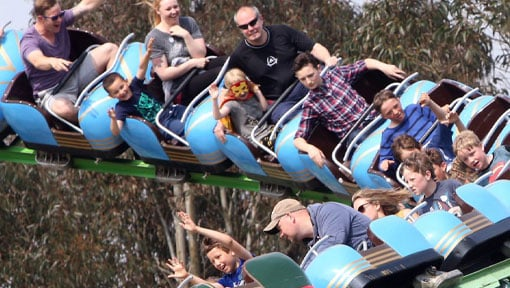 People having fun on The Big Sheep Rampage Rollercoaster