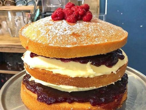 Delicious jam and cream sponge cake