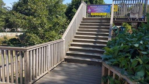 Steps leading to Swan Pedalos
