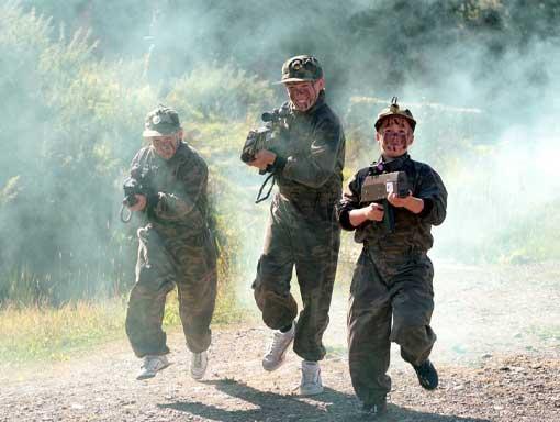Three lads having fun on The Big Sheep battlefield